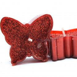 kelebek şeklinde kırmızı simli mum (9 adet)