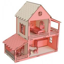 EV12 Pembe Barbie Ev 45 cm Eşyalı Demonte
