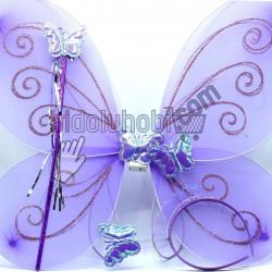 ışıklı kelebek kanadı (taç ve asa ile beraber) (5 farklı renk)