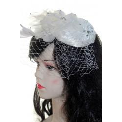 Saten-Şifon Taş işlemeli Nikah Şapkası Vualet