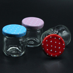 renkli kapaklı cam kavanoz şişe (40cc - 105 adet)