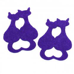 mor iki kedi yapıştırma keçe (5li paket)