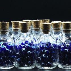 mıknatıslı nazar boncuklu mantar kapaklı cam şişe (25cc-25 adet)
