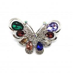 renkli kristal taşlı kelebek broş