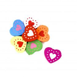 kalp desenli ahşap emzik zinciri boncuğu