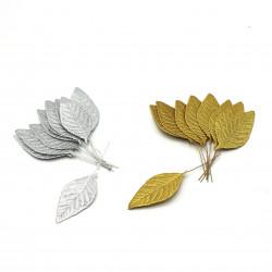 Altın/Gümüş Varaklı Süsleme tel yaprak (10'lu)