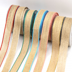 hasır-jüt kurdele 25mm renkli kenar