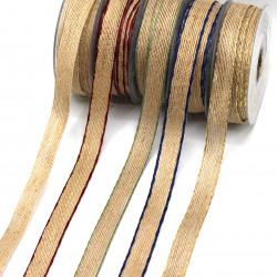 hasır-jüt kurdele 16mm 10metre renkli kenar