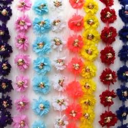 Çiçekli Lazer Kesim Şifon Çiçek