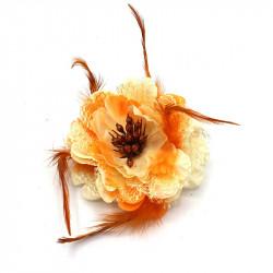 broş yapay çiçek turuncu