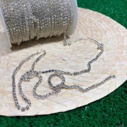 kristal sık taşlı metal yuvalı şerit (ss16 gümüş)
