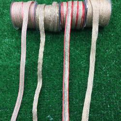 hasır-jüt kurdele 10mm renkli kenar