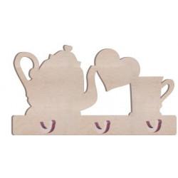 KD30 Kupa Çaydanlıklı Kalpli Anahtarlık Askılık Ahşap Obje