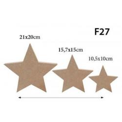 F27 Üçlü Set Yıldız Figürü Biblo Ahşap Obje